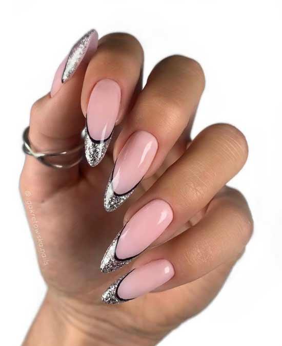 Серебристо-черный френч длинные ногти