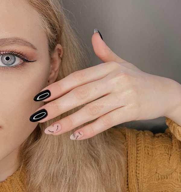 Длинные ногти оформленные в минимализм
