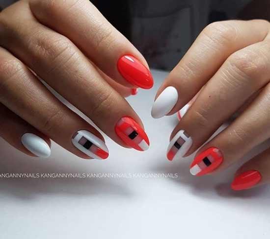 Красный с черным и белым