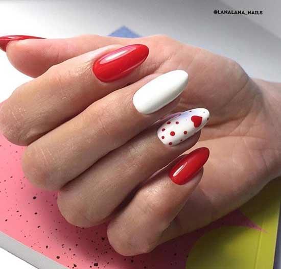 Красно-белый нейл-дизайн