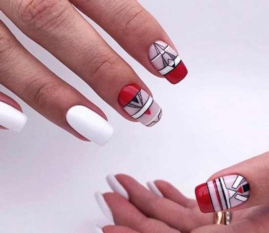 Геометрия в красно-белых тонах на ногтях