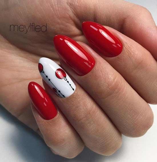 Красный и белый на одном ногте