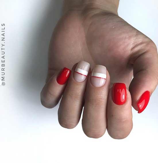 С красными и белыми полосками