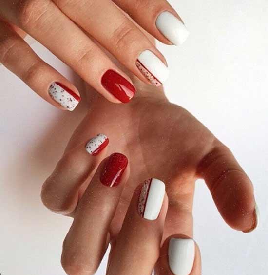 Геометрия в красно-черном цвете на ногтях