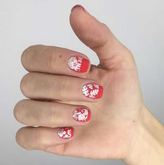 Матовый красно-белый нейл-арт