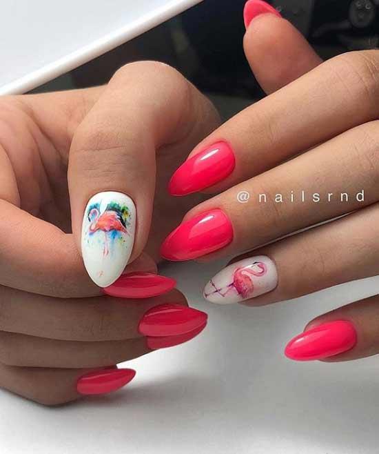 Маникюр на острые ногти красно-белый