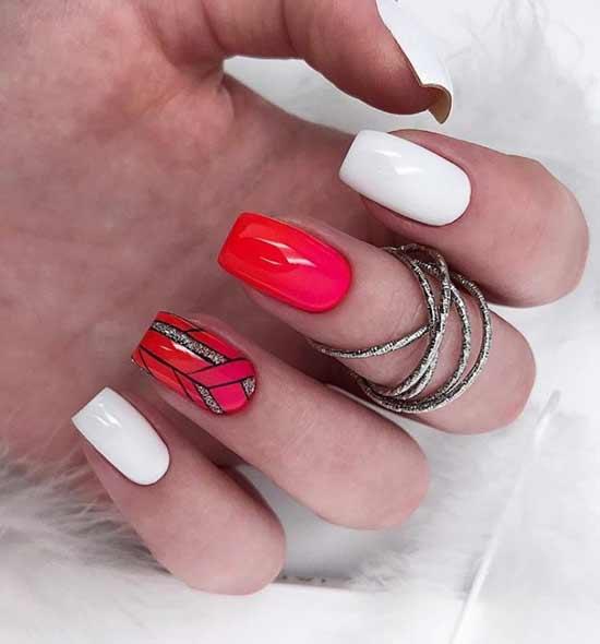Красно-белый с геометрией