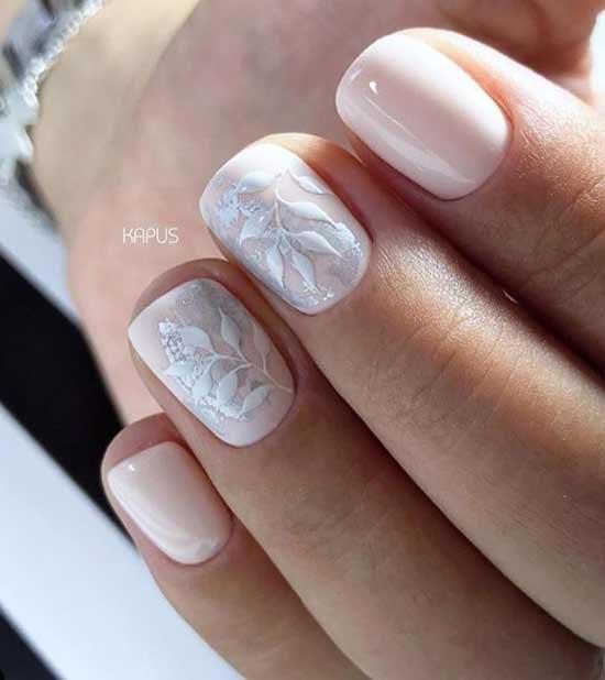 Свадебный дизайн коротких ногтей