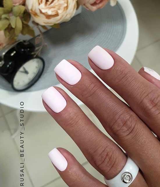 Свадебный матово-розовый маникюр короткие ногти
