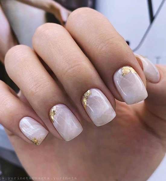 Мраморный дизайн свадебных ногтей
