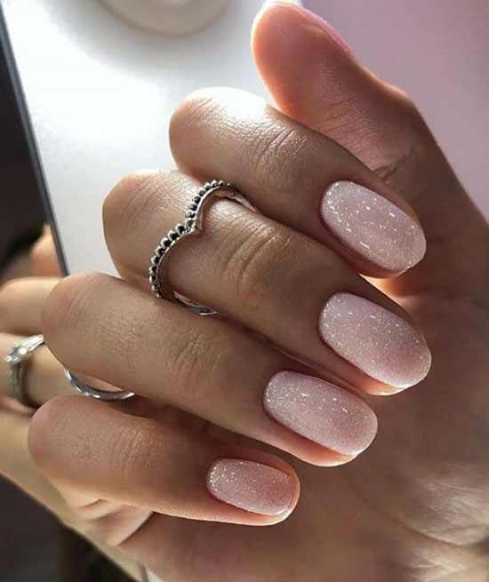Розовый свадебный маникюр короткие ногти фото