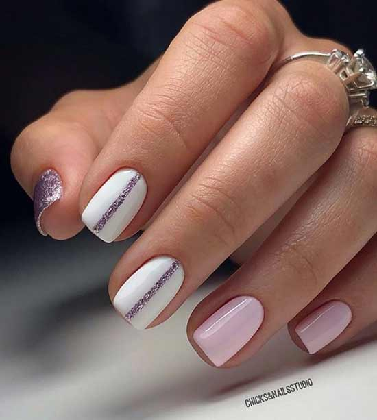 Розово-белый свадебный маникюр