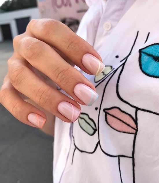 Нежный свадебный дизайн коротких ногтей