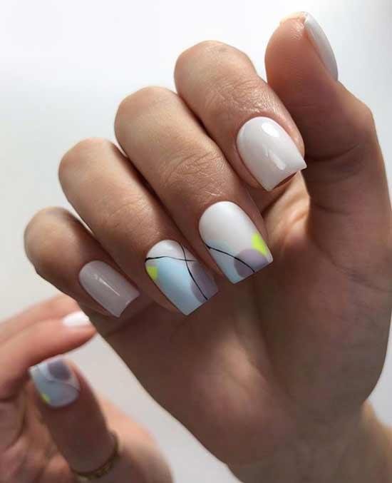 Нюдовые ногти с геометрией