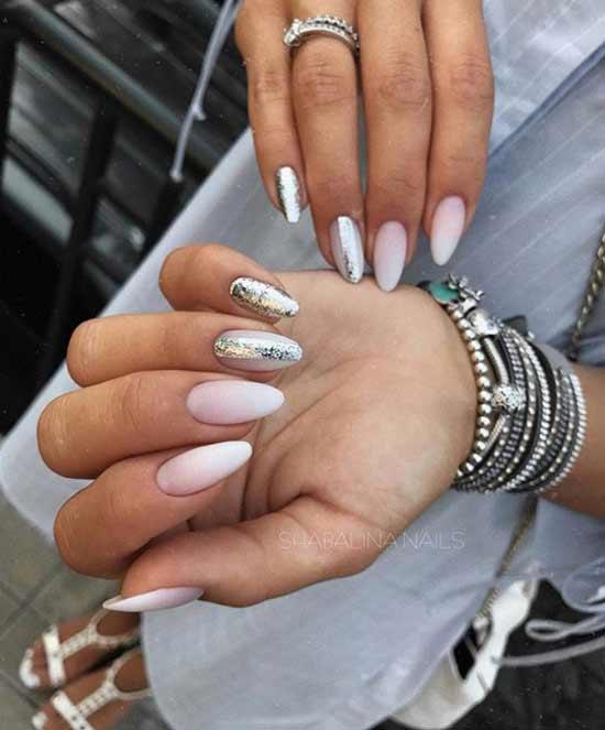 Градиент на ногтях с блестками