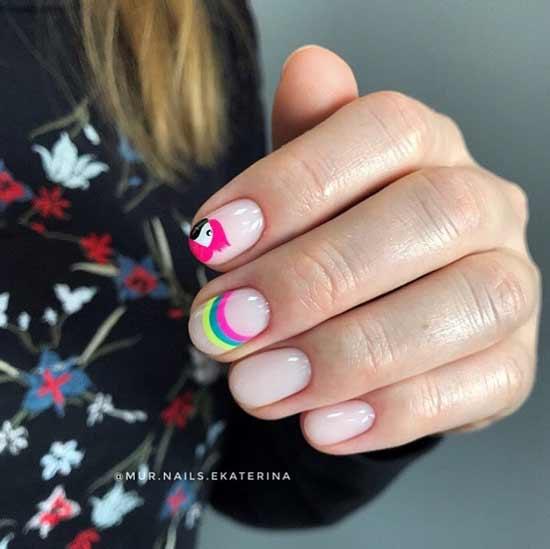 Разного цвета полоски на ногтях