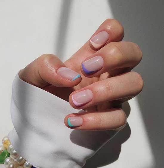 Боковой френч короткие ногти
