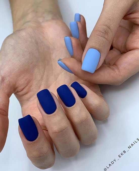 Сине-голубой маникюр