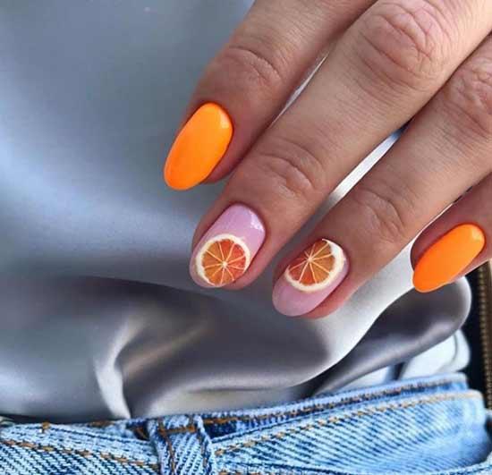 Апельсины на прозрачной основе ногтей