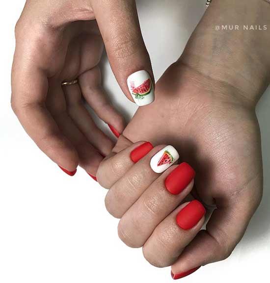 Акварельная роспись ногтей - долька арбуз