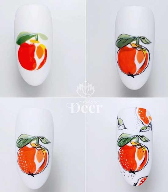 Пошагово как рисовать яблоко на ногтях