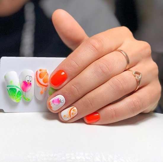 Фрукты гель-лаками на ногтях