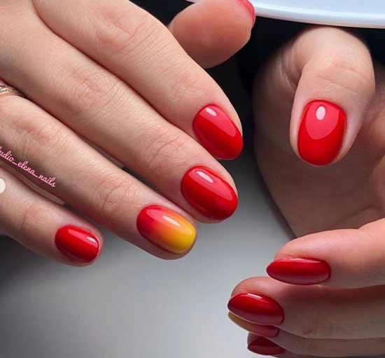 Красно-желтый градиент на короткие ногти