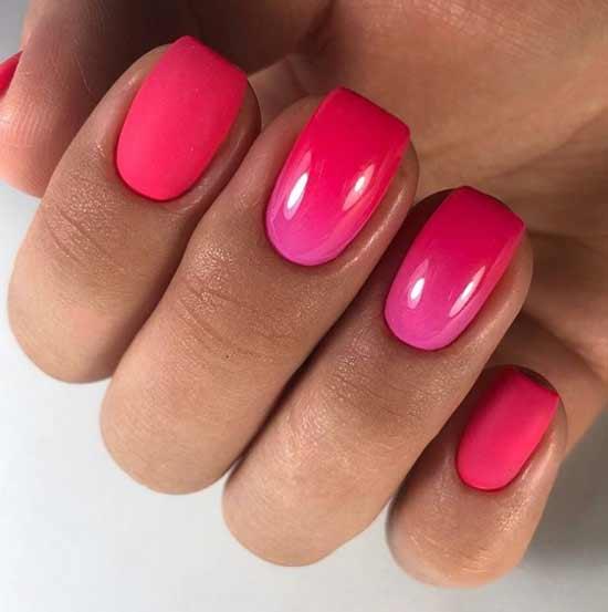 Красный градиент короткие ногти