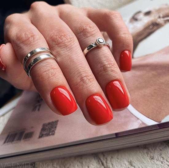 Красный маникюр фото на коротких ногтях
