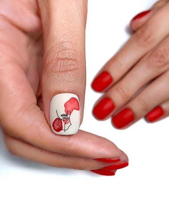 Красно-бежевый маникюр фото короткие ногти
