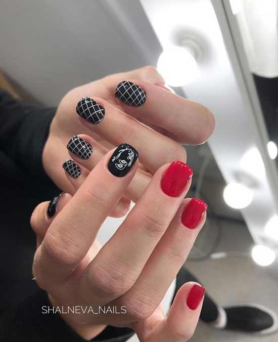 Красно-черный маникюр на короткие ногти