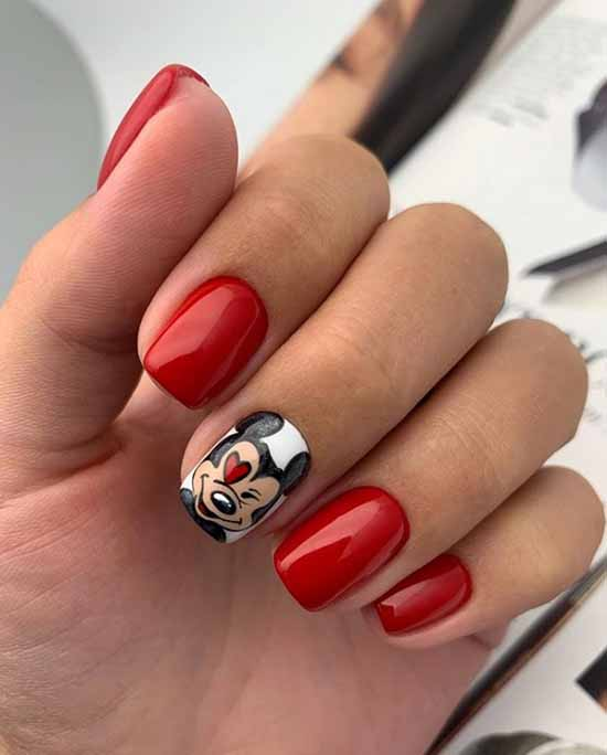 Подборка красного маникюра фото на короткие ногти