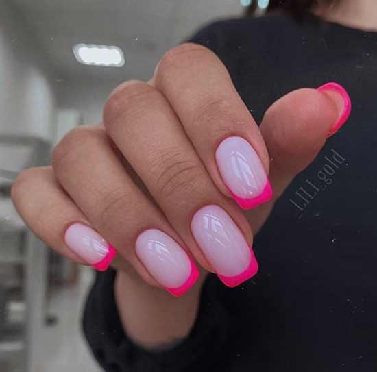 Цветной френч на квадратные ногти