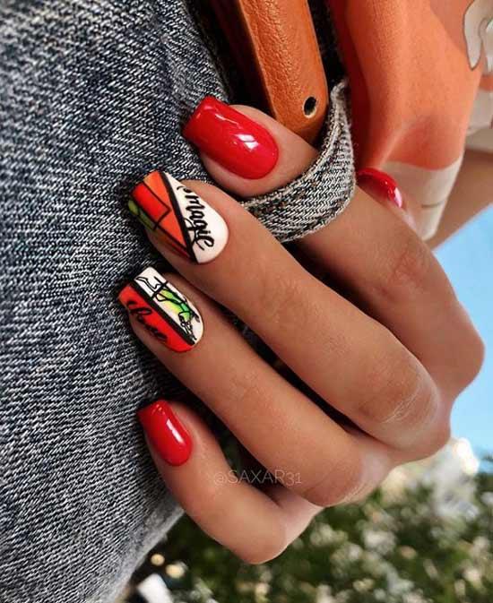 Красный маникюр фото на квадратные ногти