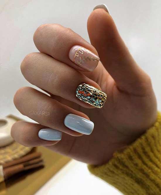 Маникюр с декором квадратные ногти
