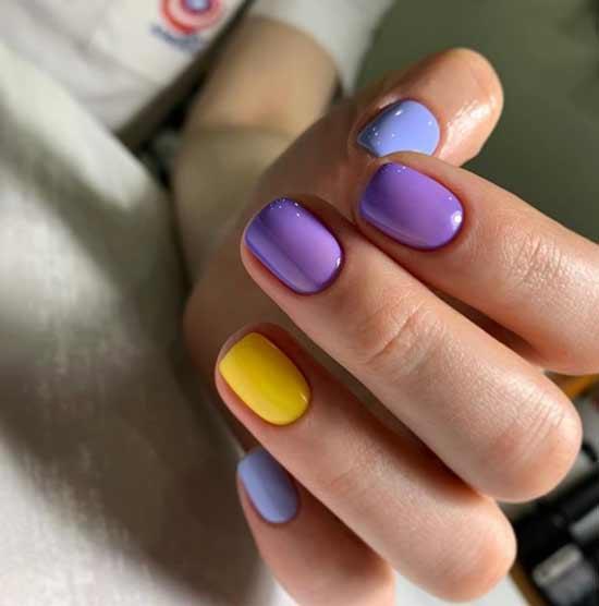 Двухцветный маникюр короткие квадратные ногти