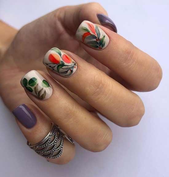 Маникюр с рисунком на квадратные ногти