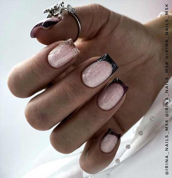 Черный френч с блестками на квадратные ногти