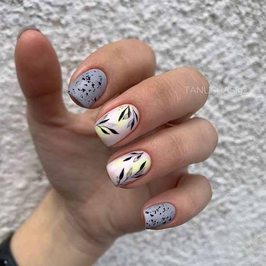 Акварель-маникюр форма ногтей квадратная
