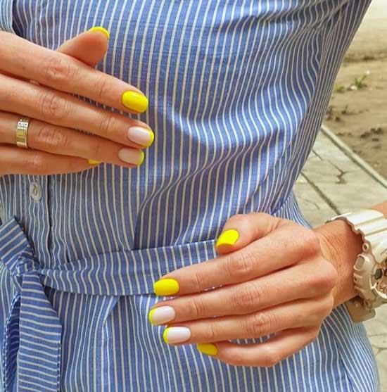 Неоновый желтый маникюр фото