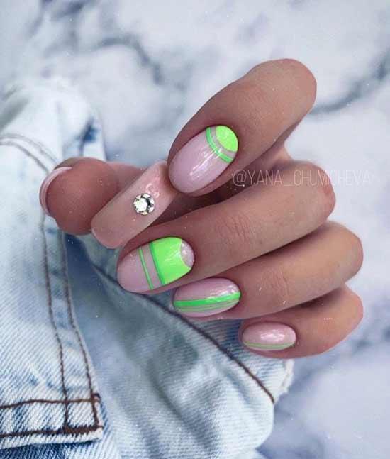 Короткие ногти неон маникюр