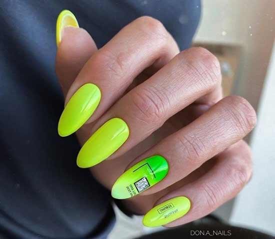 Неон в лимонно-зеленом цвете