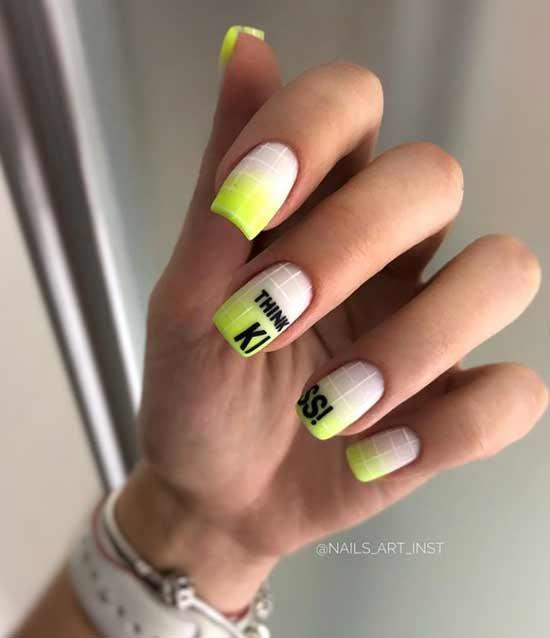 Неоновый градиент на ногтях