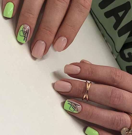 Зеленый неоновый маникюр короткие ногти