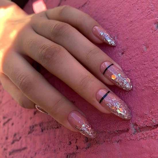 Длинные ногти с цветными блестками фото