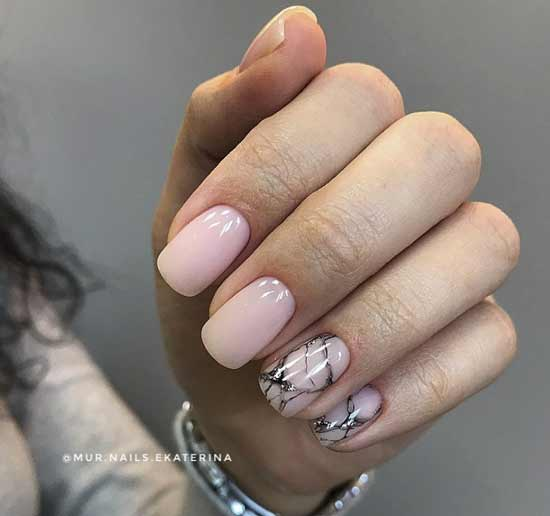 Розовый с мраморным дизайном ногтей и блестками фото