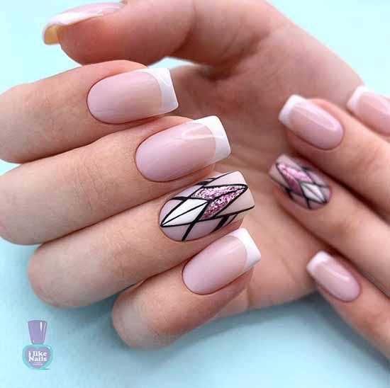 Нежная геометрия на ногтях с блестками