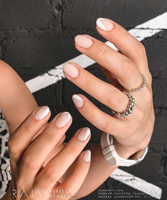 Белый френч короткие ногти