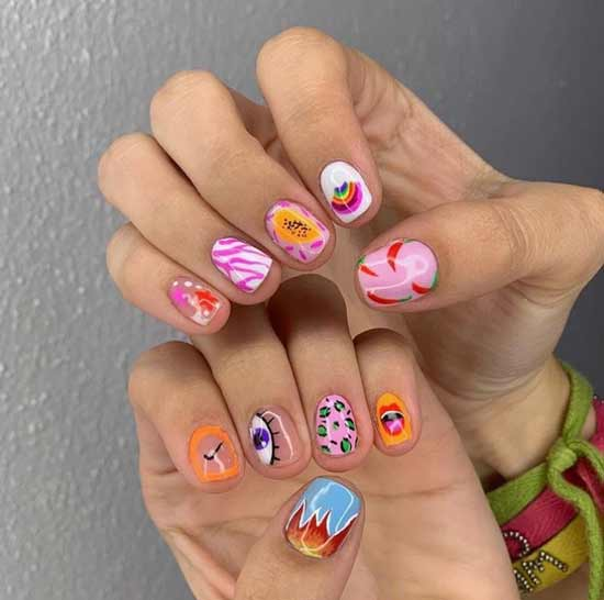 Яркий дизайн всех ногтей