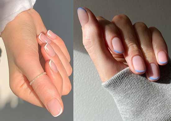 Цветной дизайн коротких ногтей френч